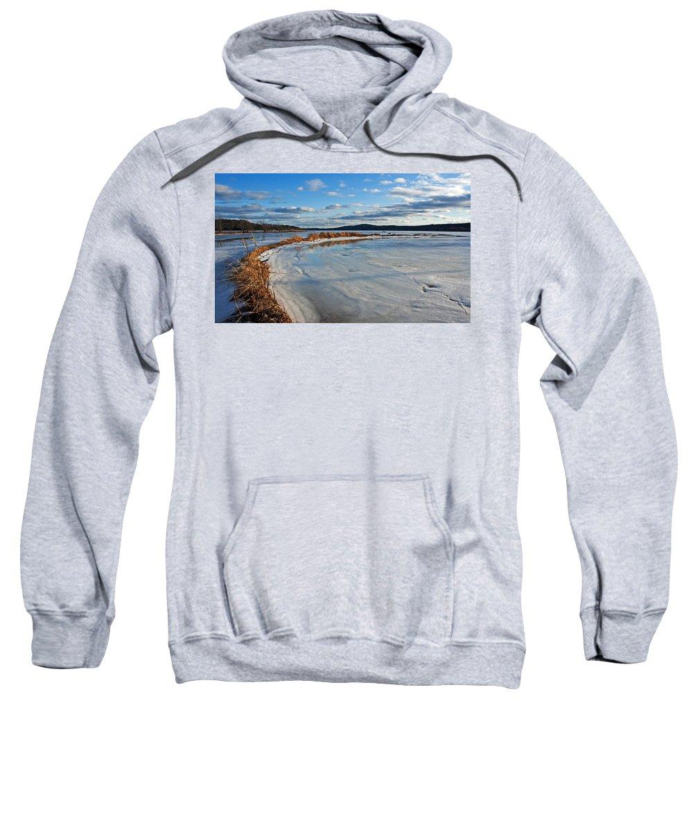 Ice Sweatshirt featuring the photograph Frozen Shoreline by Jeff Galbraith