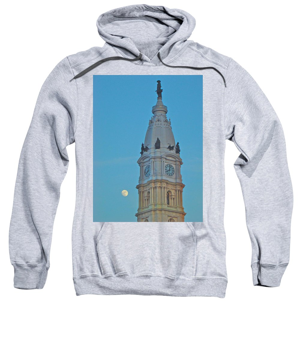 City Hall Philadelphia Nightime Full Moon Sweatshirt featuring the photograph Full Moon And Billy Penn by Alice Gipson