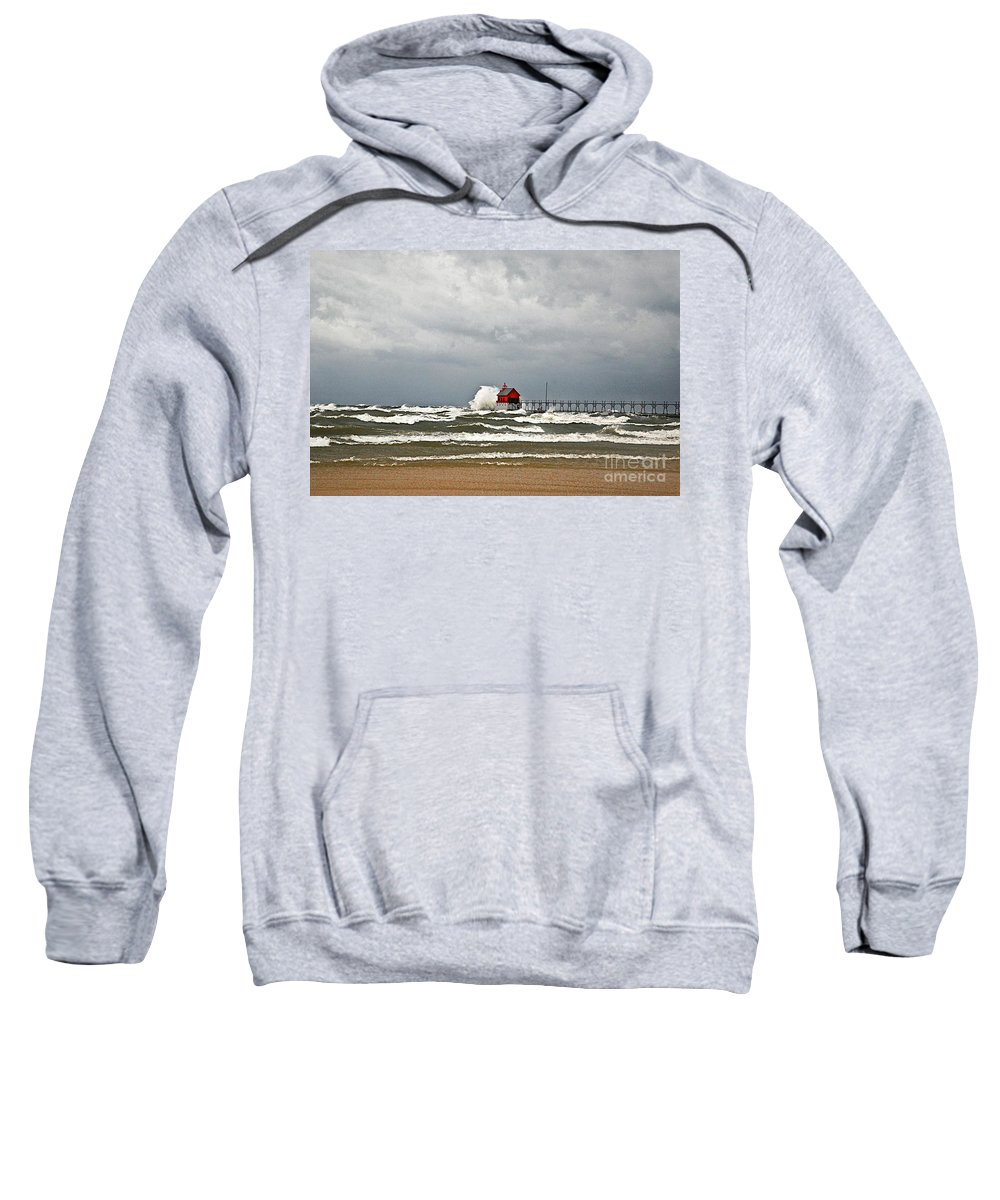 Sand Sweatshirt featuring the photograph Gale Warnings 2 by Robert Pearson
