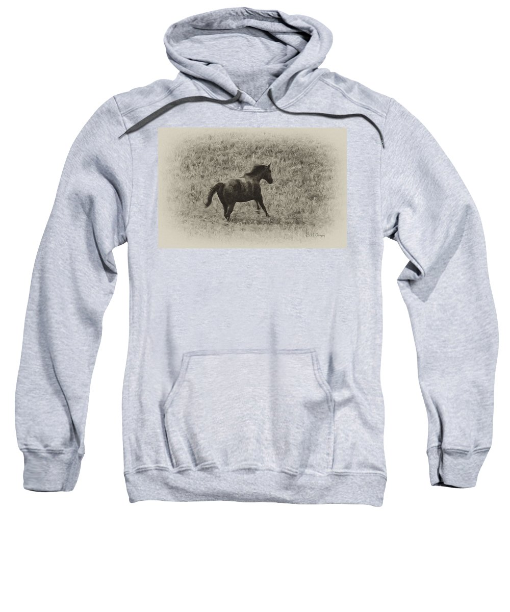 Galloping Horse Sweatshirt featuring the photograph Galloping Horse by Bill Cannon