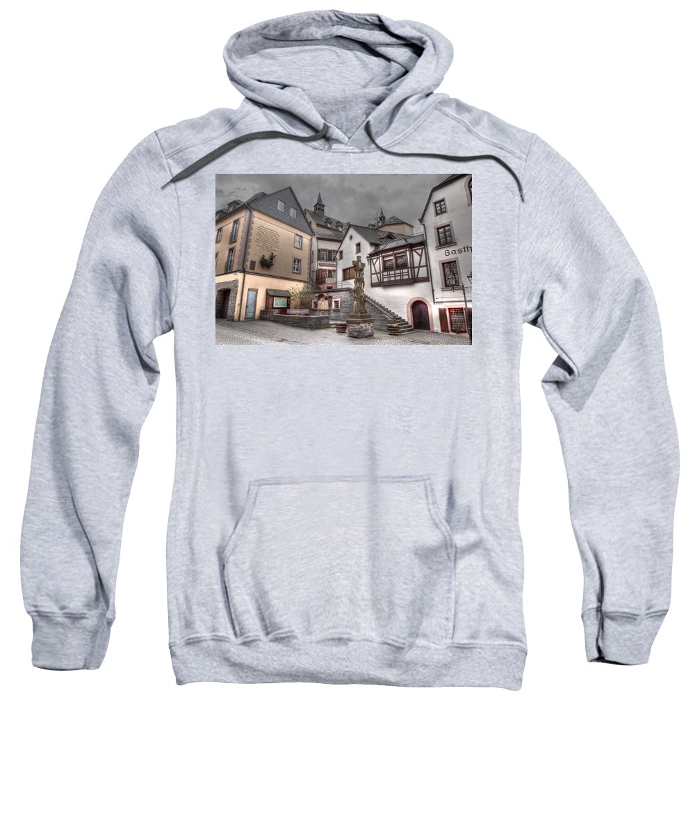 Hdr Sweatshirt featuring the photograph Gasthaus And Church-colour by Bill Lindsay