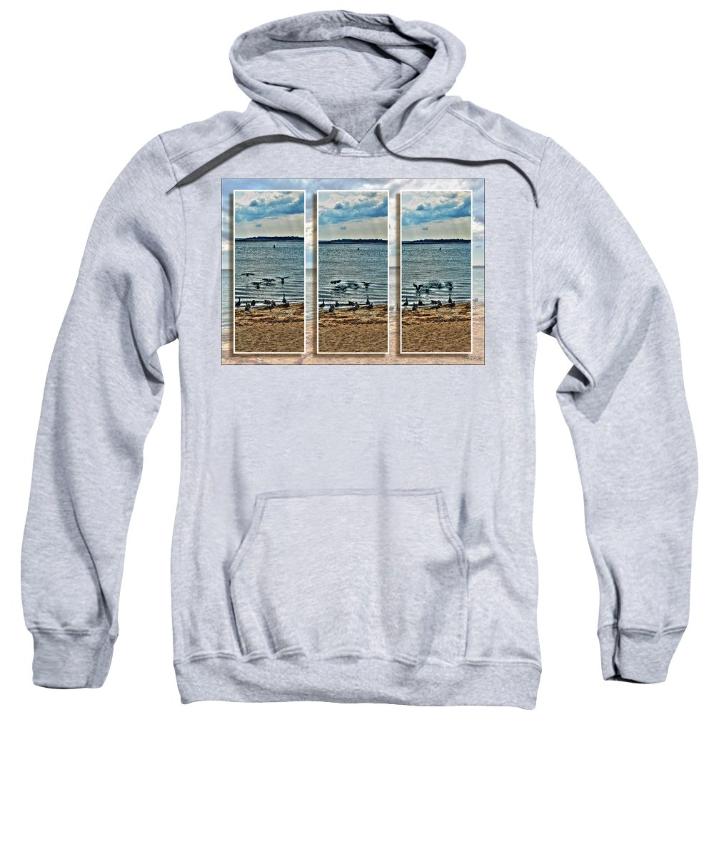 Sweatshirt featuring the photograph Geese Point Landing Triptych by Michael Frank Jr