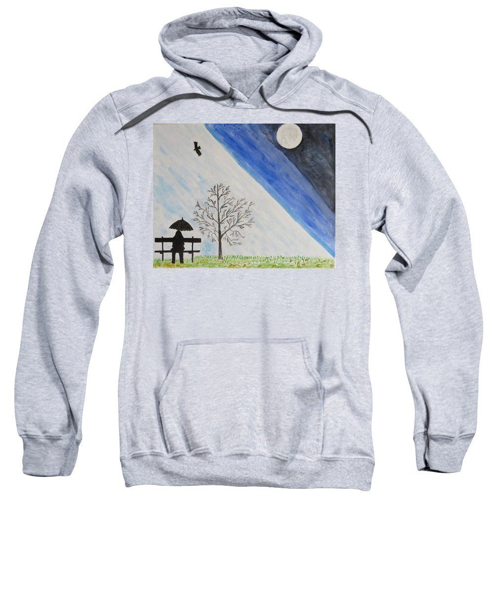 Girl Sweatshirt featuring the painting Girl With A Umbrella by Sonali Gangane