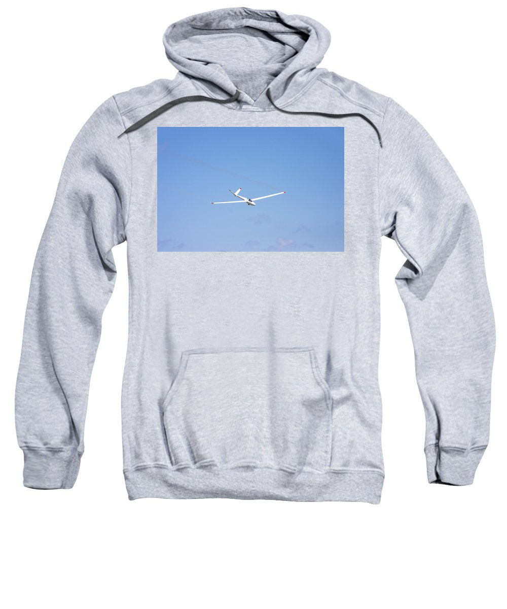Plane Sweatshirt featuring the photograph Glider Flying In Blue Sky Canvas Photo Poster Print by Keith Webber Jr