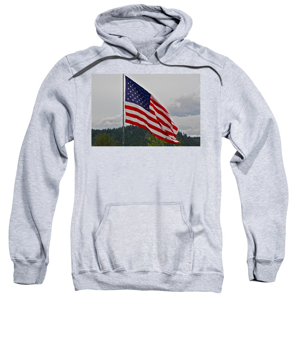 American Flag Sweatshirt featuring the photograph God Bless America by Diana Hatcher