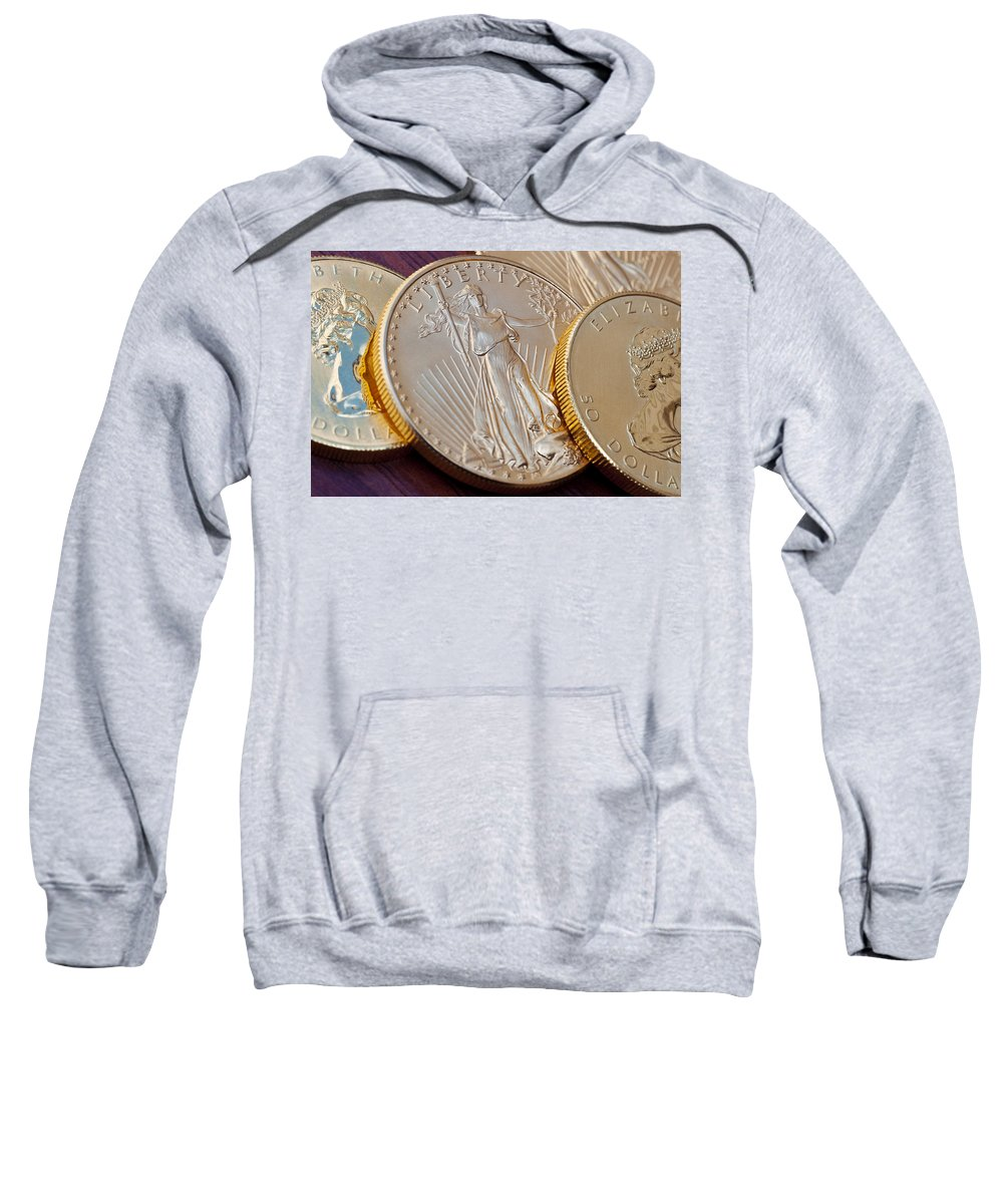 Bank Sweatshirt featuring the photograph Golden Coins II by Joe Carini - Printscapes