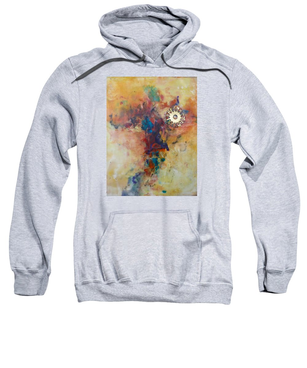 Abstract Sweatshirt featuring the painting Golden Gears by Ezshwan Winding
