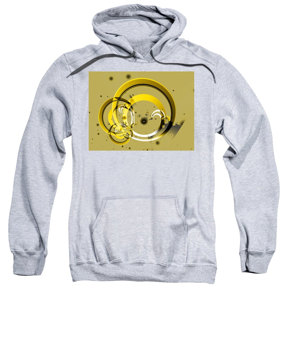 Fractal Sweatshirt featuring the digital art Golden Rings by Frederic Durville
