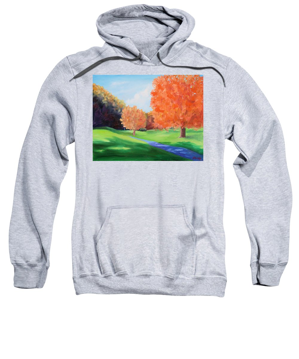 Golf Sweatshirt featuring the painting Golf Course In The Fall 1 by Todd Bandy
