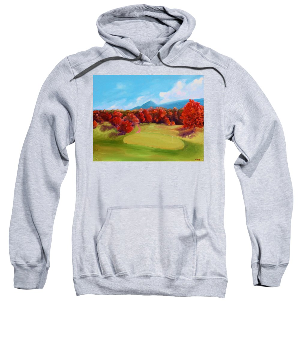 Golf Sweatshirt featuring the painting Golf Course In The Fall 2 by Todd Bandy