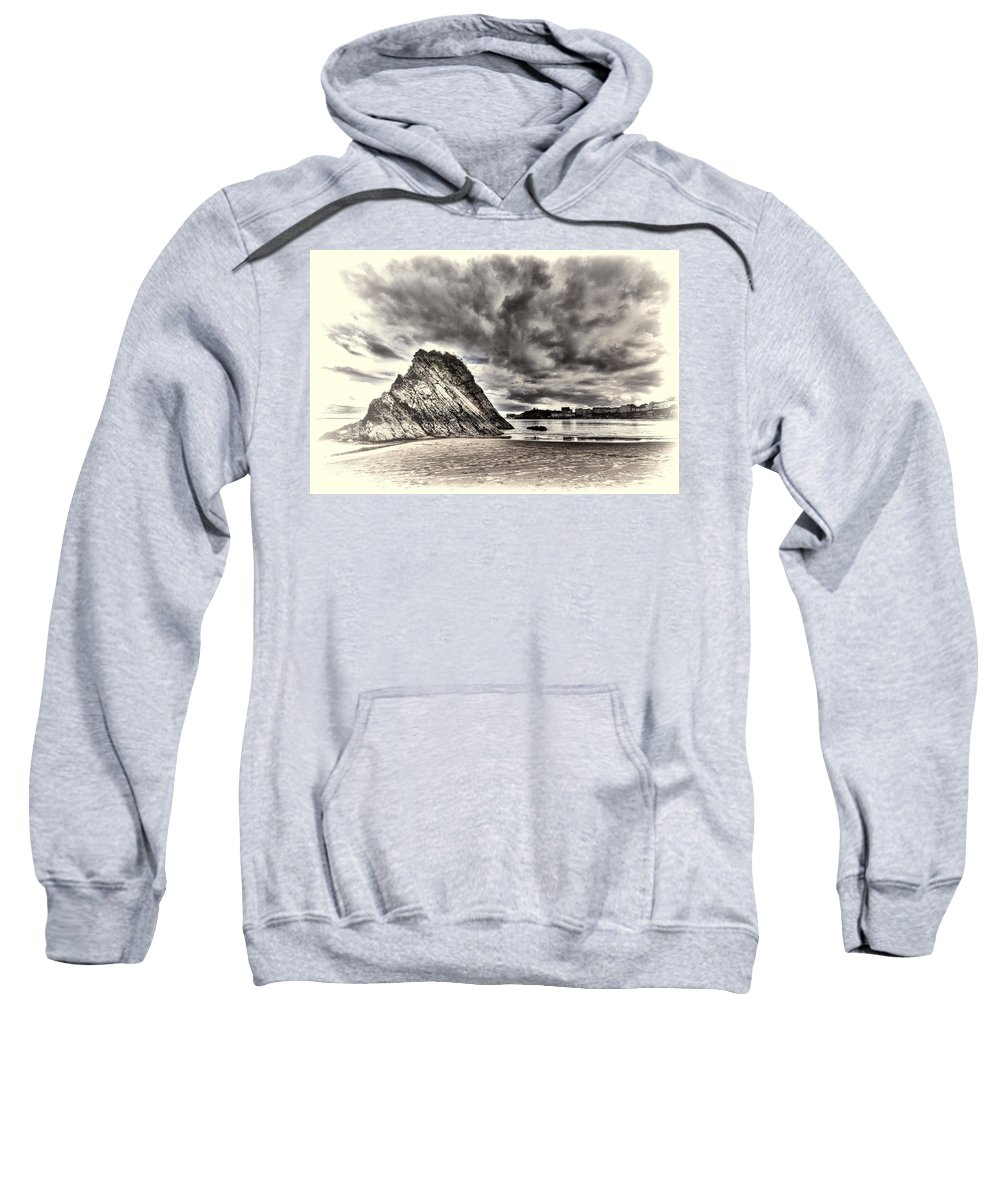Goscar Rock Tenby Sweatshirt featuring the photograph Goscar Rock Tenby Cream by Steve Purnell