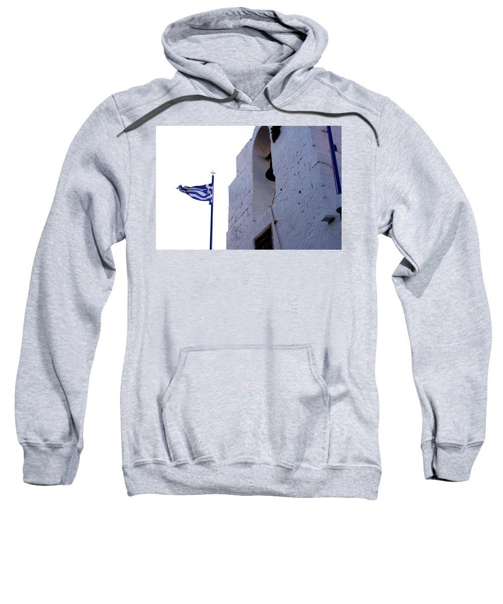 Greece Sweatshirt featuring the photograph Greek Flag Flying by La Dolce Vita