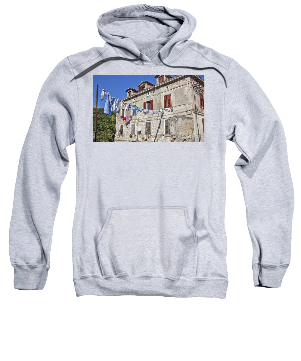 Laundry Sweatshirt featuring the photograph Hanging Out To Dry In Rovinj by Madeline Ellis