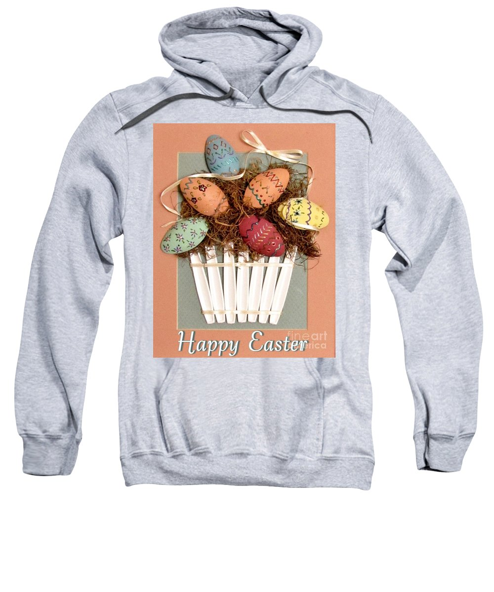 Easter Eggs Sweatshirt featuring the relief Happy Easter by Marilyn Smith
