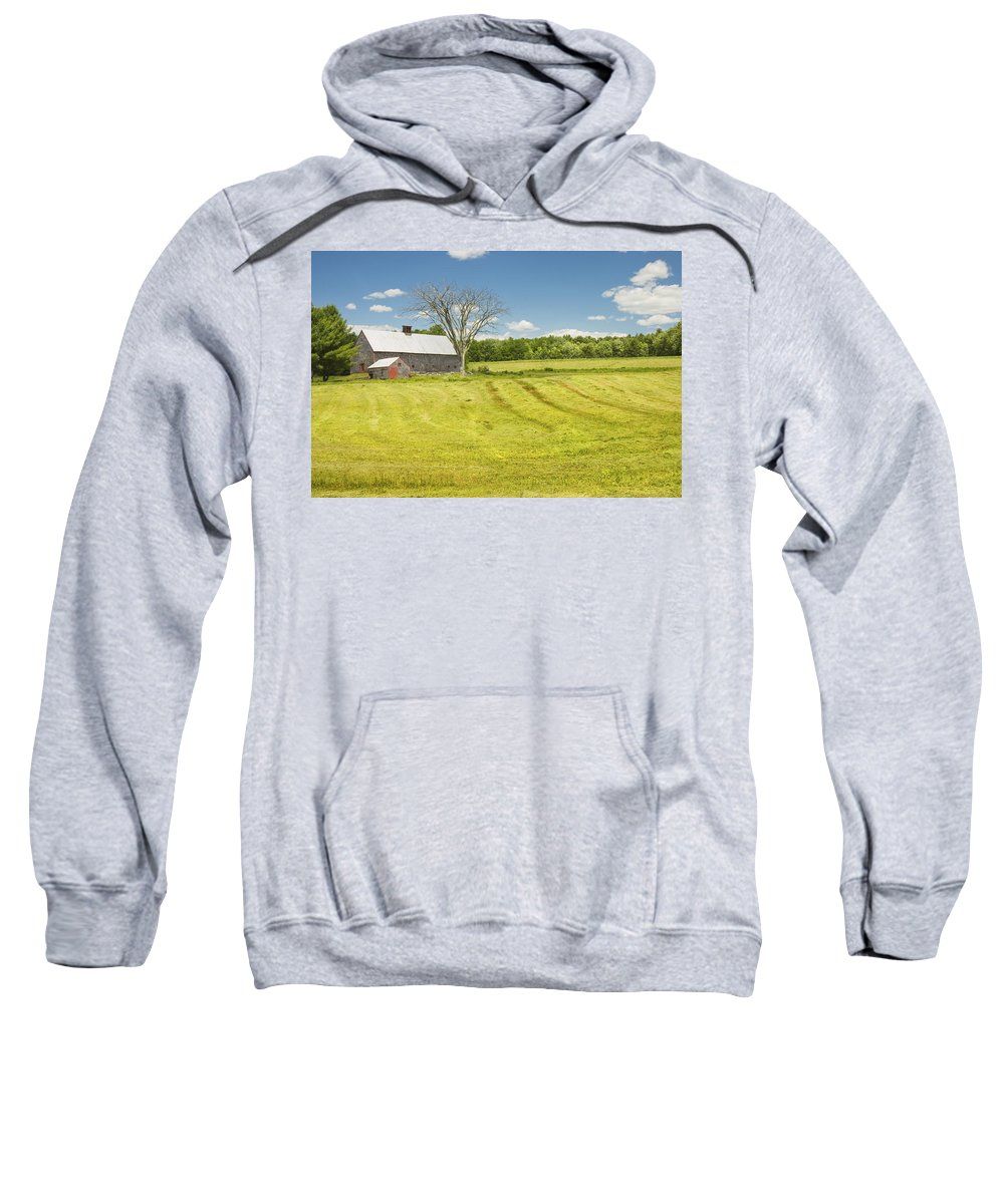 Farm Sweatshirt featuring the photograph Hay Being Harvested Near Barn In Maine by Keith Webber Jr