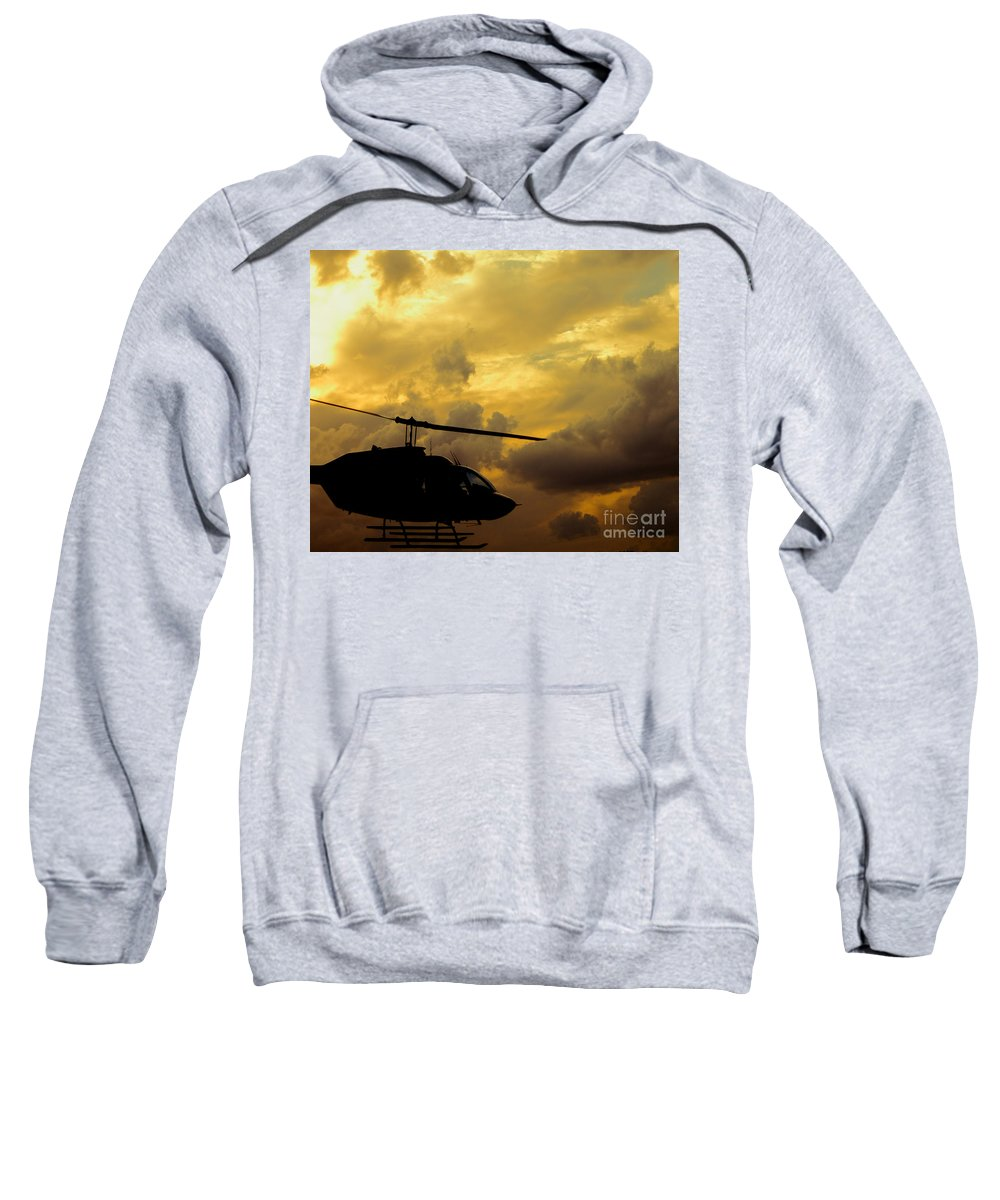 Whirlybird Sweatshirt featuring the photograph Helocopter In Clouds by Robert Frederick