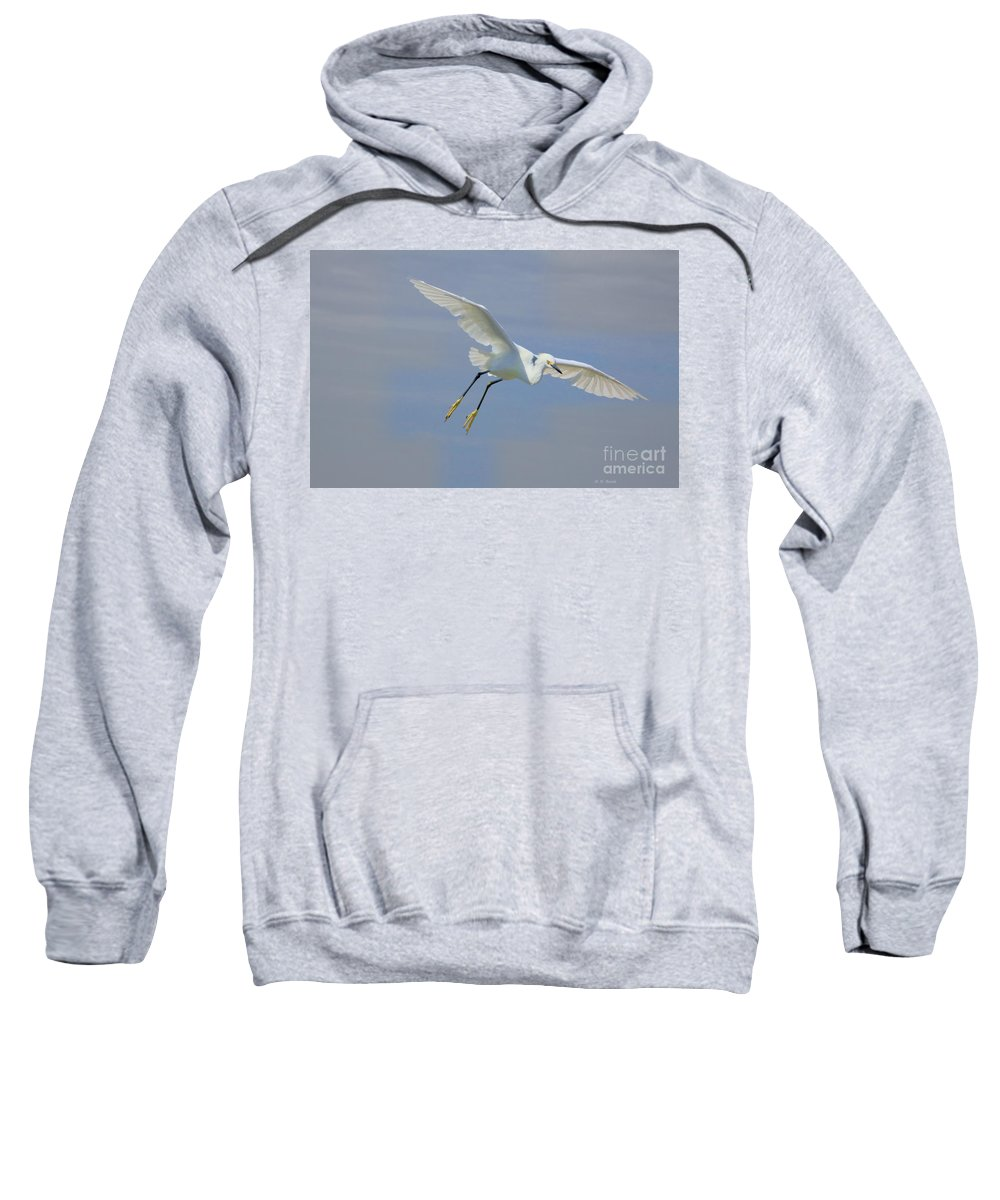 Egret Sweatshirt featuring the photograph Here I Come by Deborah Benoit