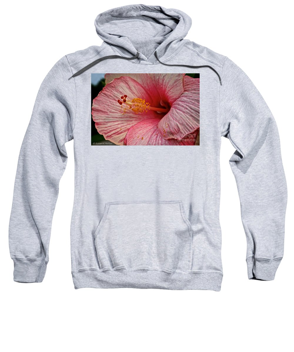 Floral Sweatshirt featuring the photograph Hibiscus Pink by Susan Herber