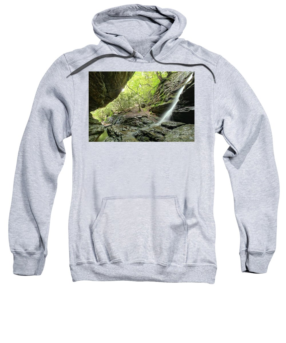 Hanging Rock State Park Sweatshirt featuring the photograph Hidden Window Falls by Adam Jewell