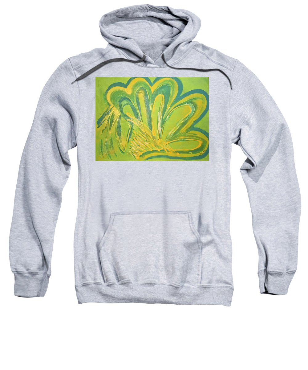 Yellow Sweatshirt featuring the mixed media High Five by Artista Elisabet
