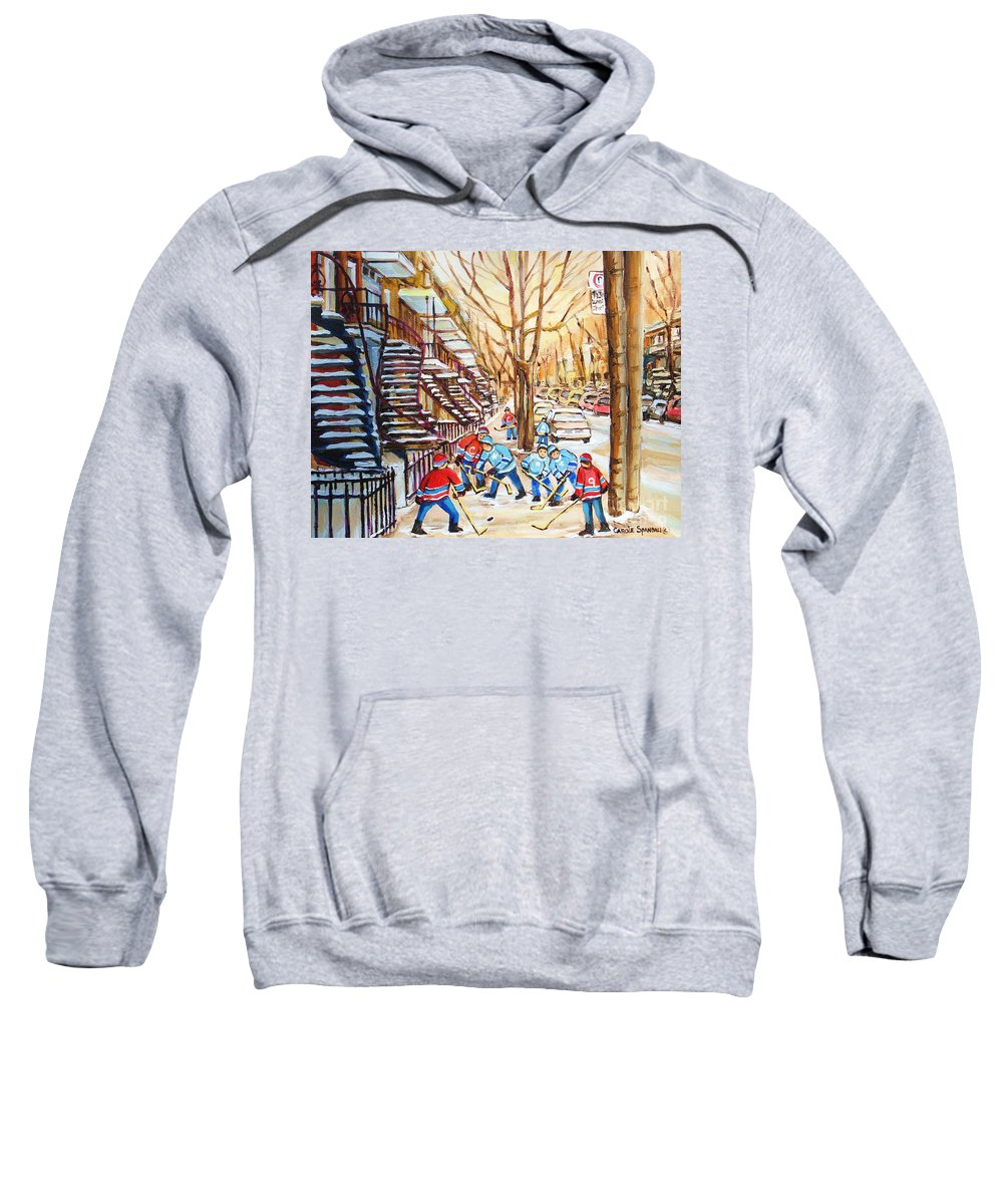 Montreal Sweatshirt featuring the painting Hockey Game Near Winding Staircases by Carole Spandau