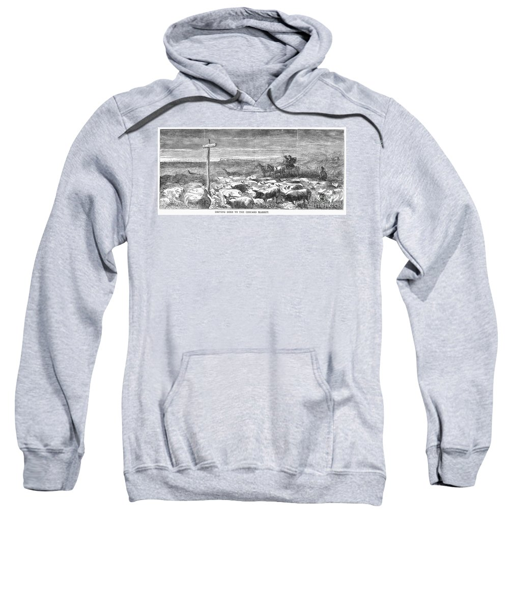 1868 Sweatshirt featuring the photograph Hog Driving, 1868 by Granger