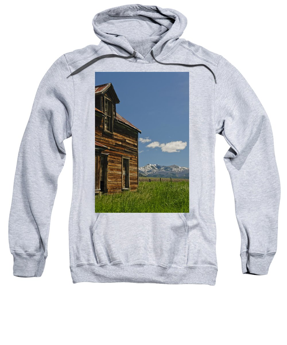 Americas Sweatshirt featuring the photograph Homestead View Of The Crazy's by Roderick Bley