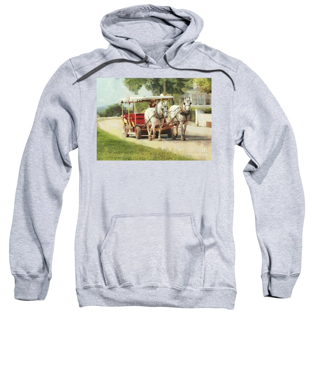 Horses Sweatshirt featuring the painting Horse Carriage Mackinac Island Michigan by Anne Kitzman