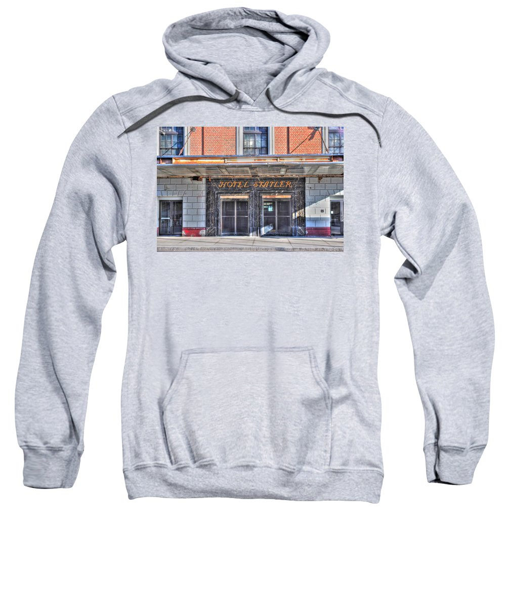 Sweatshirt featuring the photograph Hotel Statler by Michael Frank Jr