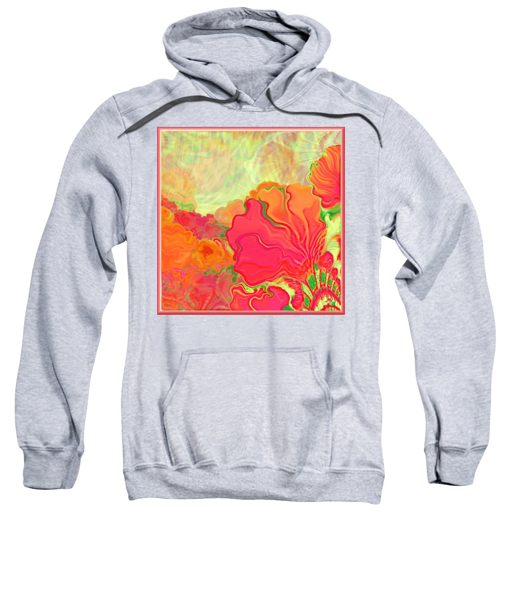 Floral Sweatshirt featuring the digital art Hothouse Flowers by Mathilde Vhargon