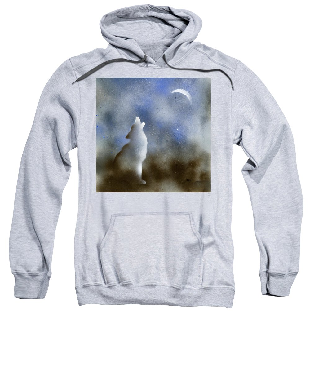 Wolf Sweatshirt featuring the painting Howling Wolf by Hakon Soreide