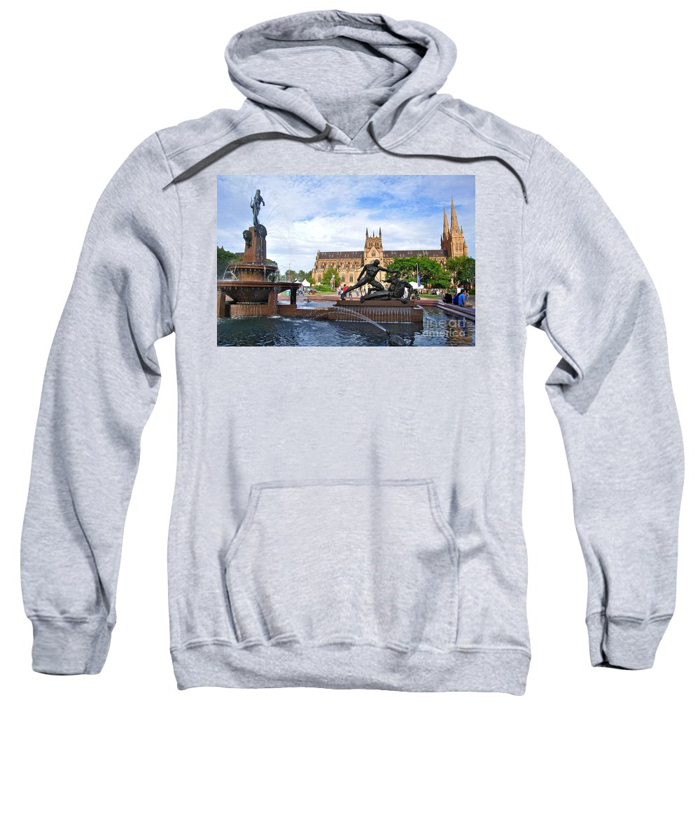 Photography Sweatshirt featuring the photograph Hyde Park Fountain And St. Mary's Cathedral by Kaye Menner