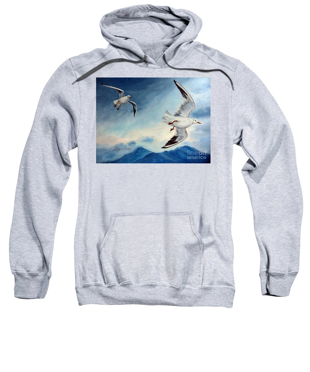 Seagulls Sweatshirt featuring the painting In Flight by Julie Brugh Riffey