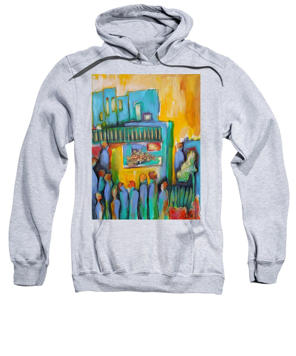 City Sweatshirt featuring the painting In Passing by Darcy Lee Saxton