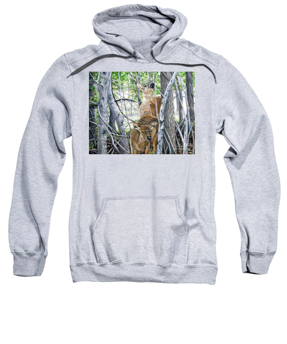 Fuqua - Artwork Sweatshirt featuring the drawing In The Thicket Of Things by Beverly Fuqua