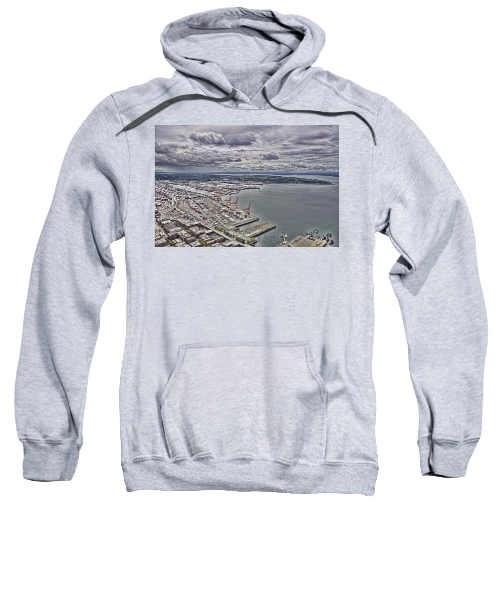 Seattle Sweatshirt featuring the photograph Industrial Harbor by Rich Bodane