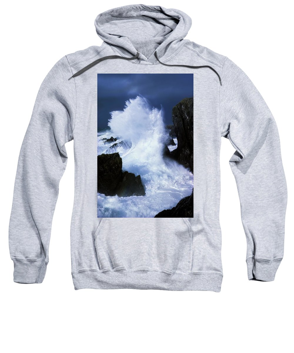 Blurred Motion Sweatshirt featuring the photograph Ireland, Waves Crashing On Rocks by The Irish Image Collection