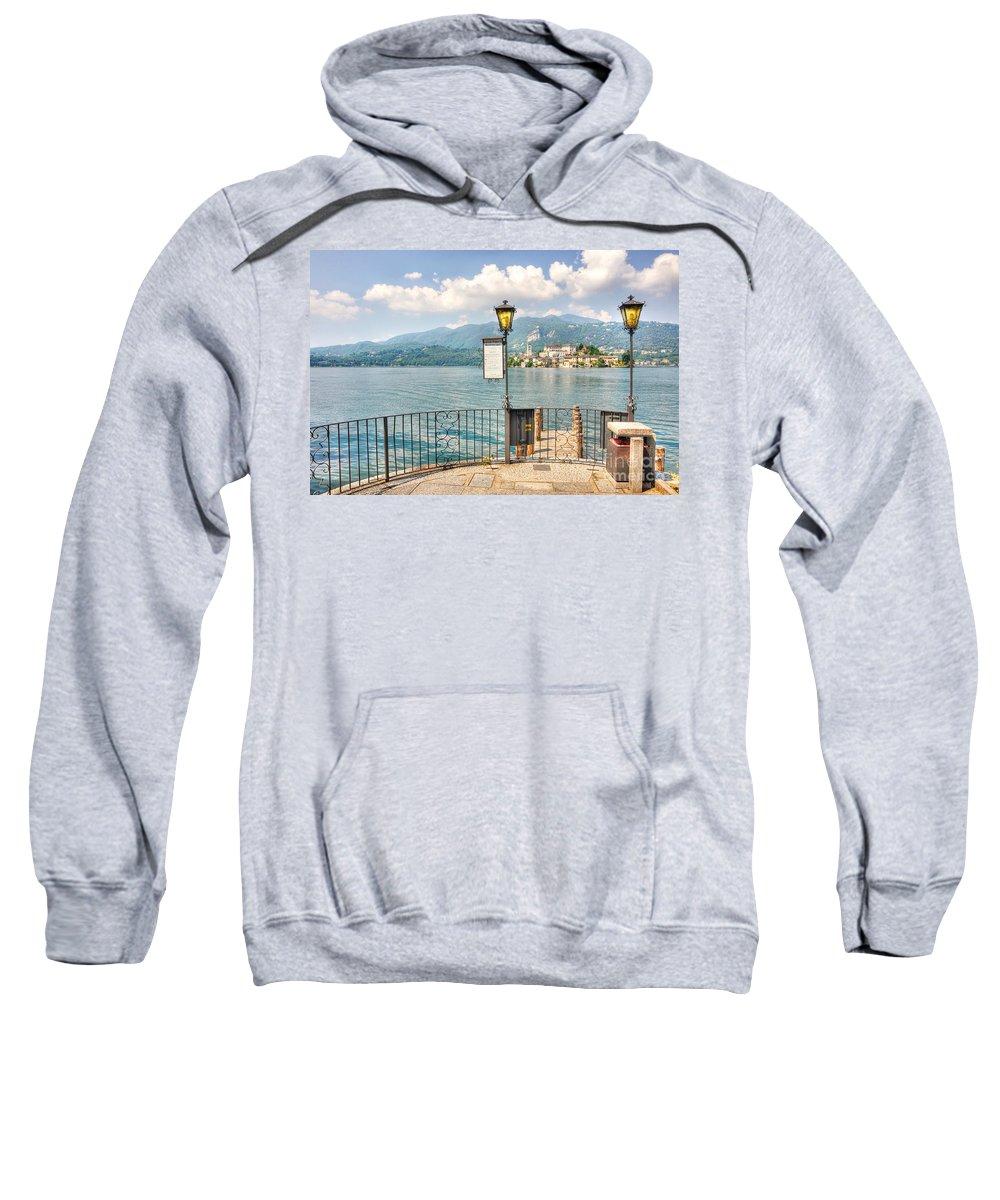 Island Of San Giulio Sweatshirt featuring the photograph Island San Giulio On Lake Orta by Mats Silvan