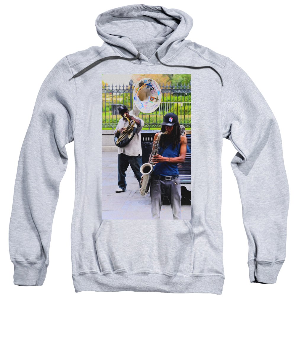 Jackson Square Jazz Sweatshirt featuring the photograph Jackson Square Jazz by Bill Cannon
