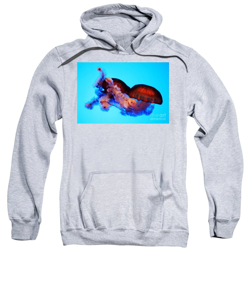 Jellyfish Sweatshirt featuring the photograph Jellyfish Drama - Digital Art by Carol Groenen