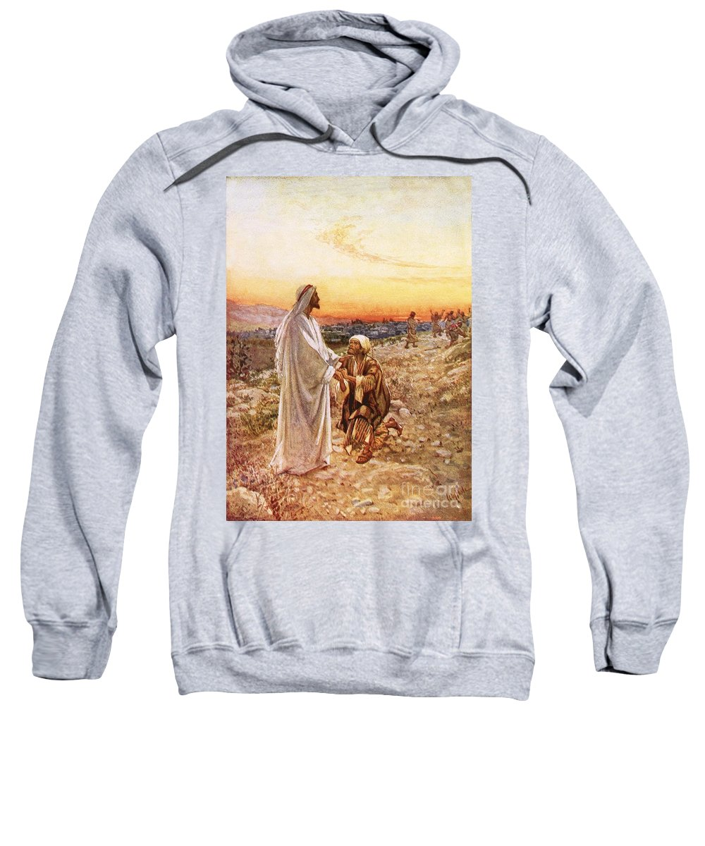 Bible; Jesus Christ; Leper; One Of Ten; Lepers; Thanks; Gratitude; Miracle Sweatshirt featuring the painting Jesus Withe The One Leper Who Returned To Give Thanks by William Brassey Hole