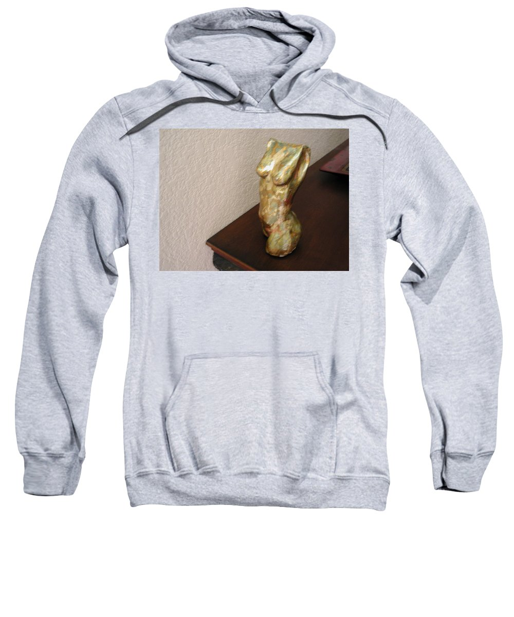 Nude Sweatshirt featuring the sculpture Karma 1 by Milton Tarver