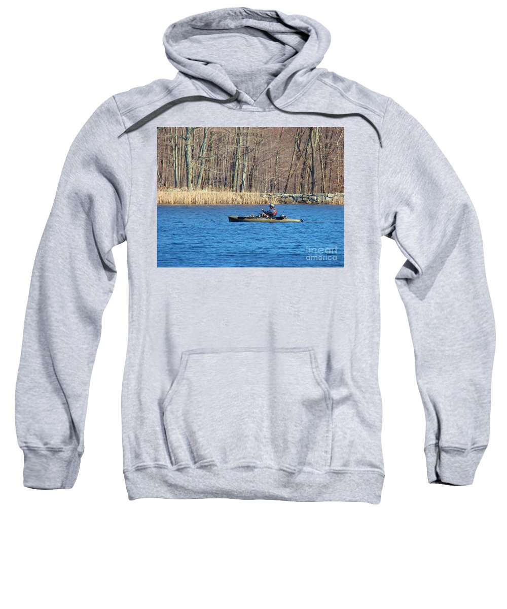 Fishing Sweatshirt featuring the photograph Kayak by Art Dingo