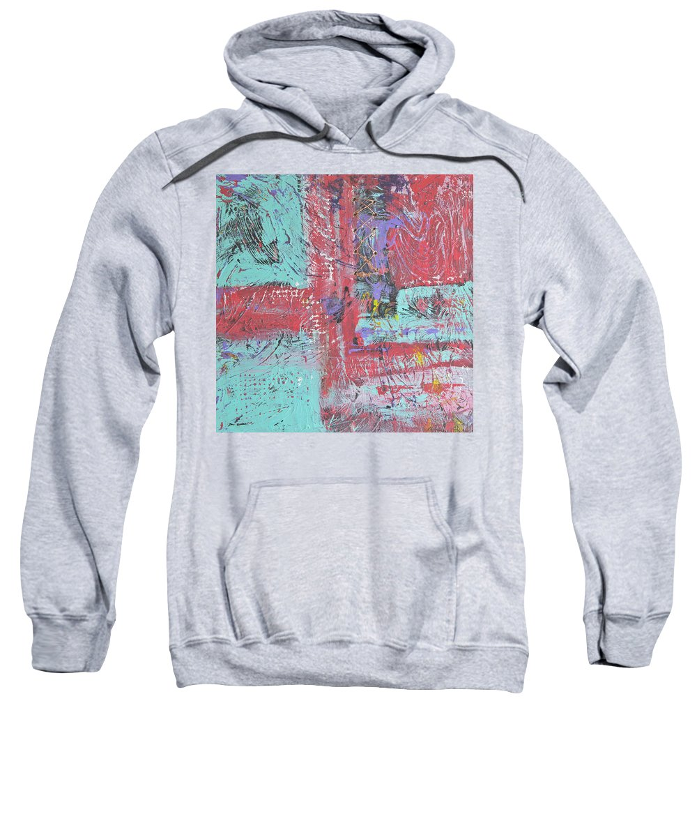Abstract Sweatshirt featuring the painting Keeping It Together by Wayne Potrafka