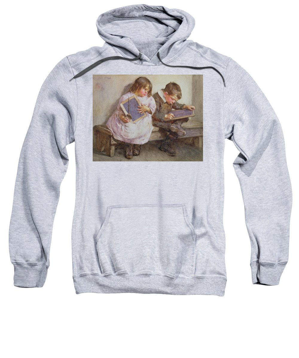 Children; Pupil; Student; Slate; Writing Tablet; Detention; Naughty Sweatshirt featuring the painting Kept In by John Henry Henshall