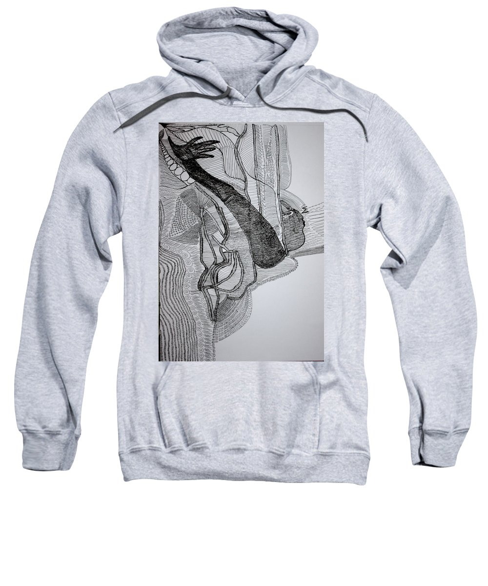 Jesus Sweatshirt featuring the drawing Kiganda Dance by Gloria Ssali