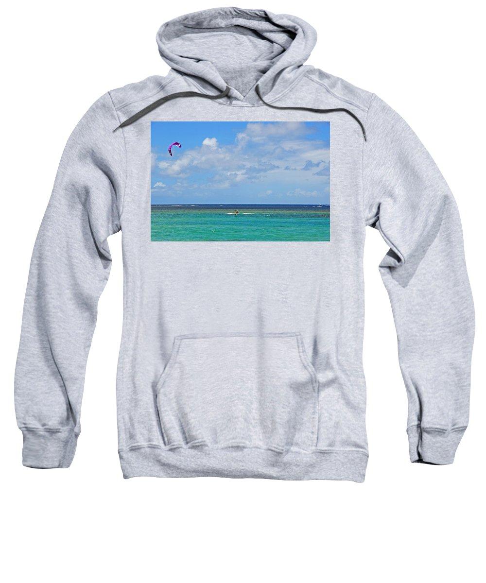 Kite Sweatshirt featuring the photograph Kitesurfing In Kauai II by Lynn Bauer