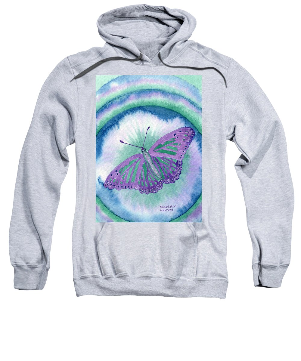 Butterfly Art Sweatshirt featuring the painting Knowingness Butterfly by Charlotte Garrett