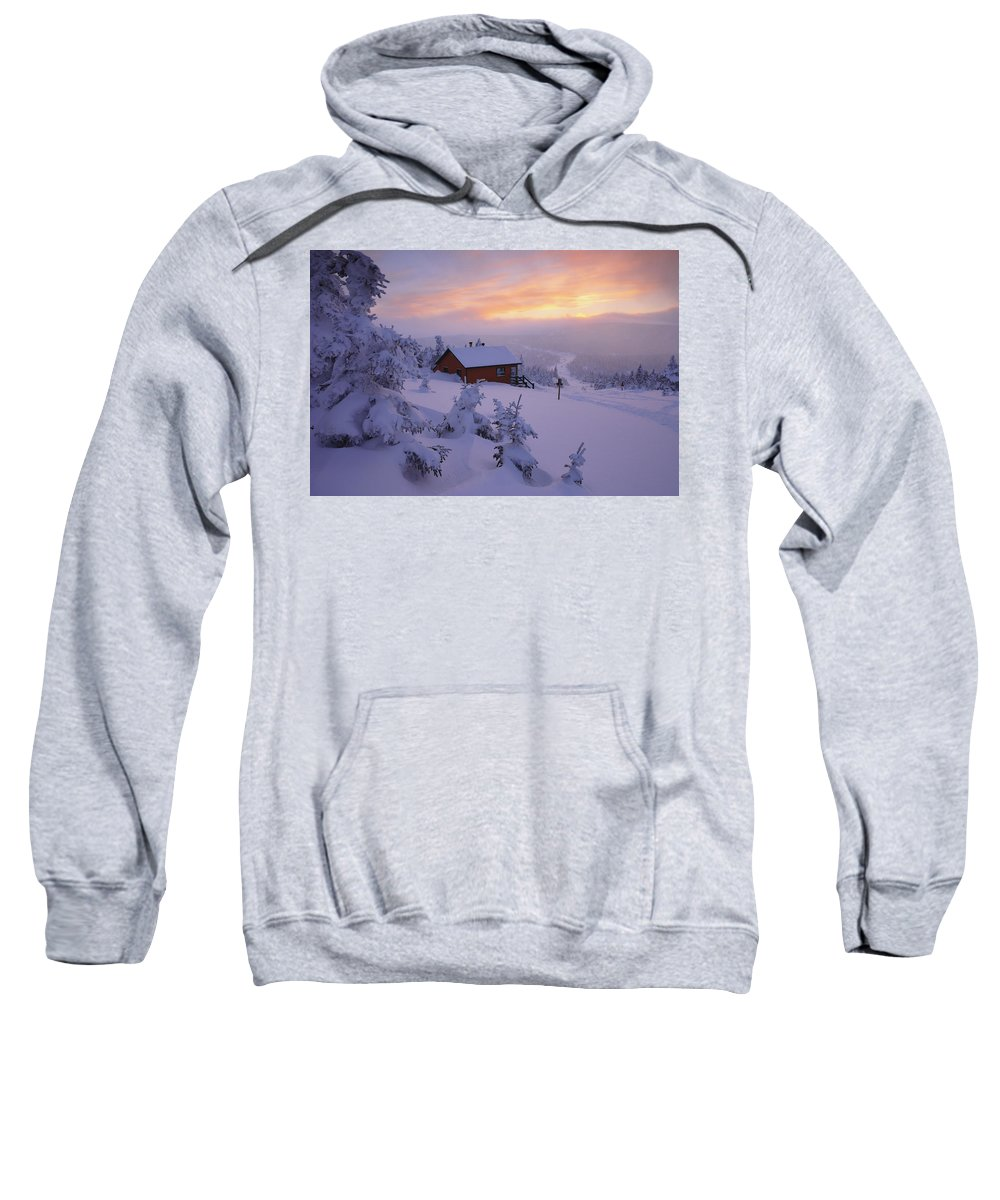 Cabins Sweatshirt featuring the photograph La Chouette Cabin At Twilight, Gaspesie by Yves Marcoux