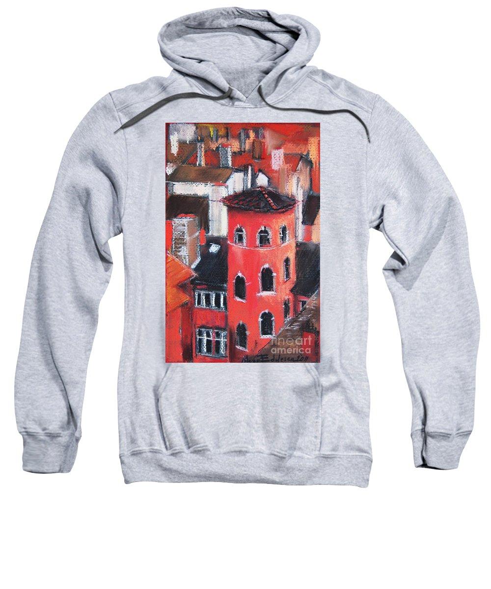 Edulesco Sweatshirt featuring the pastel La Tour Rose In Lyon 1 by Mona Edulesco